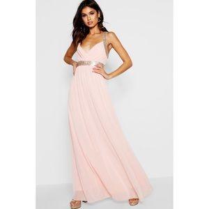 Boohoo Boutique Sequin Panel Mesh Maxi Dress